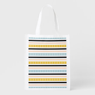 Trendy Black Blue Yellow Peach Stripes Design Reusable Grocery Bag