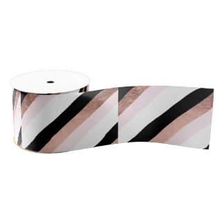 Trendy black blush pink rose gold geometric stripe grosgrain ribbon