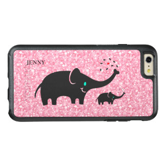 Trendy Black Elephants Over Pink Glitter OtterBox iPhone 6/6s Plus Case