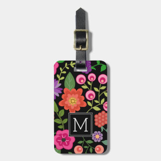 Trendy Black Floral Pattern with Custom Monogram Luggage Tag