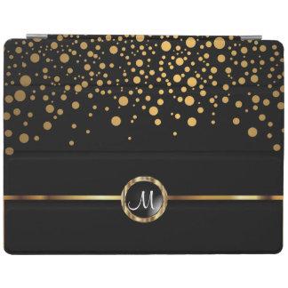 Trendy Black Gold Confetti Dots - Monogram iPad Cover