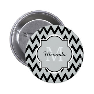 Trendy Black Gray Chevron Zigzag Name and Monogram 2 Inch Round Button