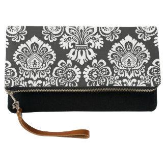 Trendy Black Gray White bold damask pattern Clutch