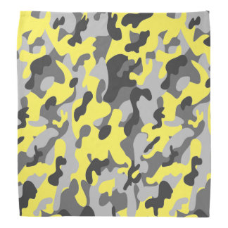 Trendy Black, Grey & Yellow Camo Print Sports Bandana