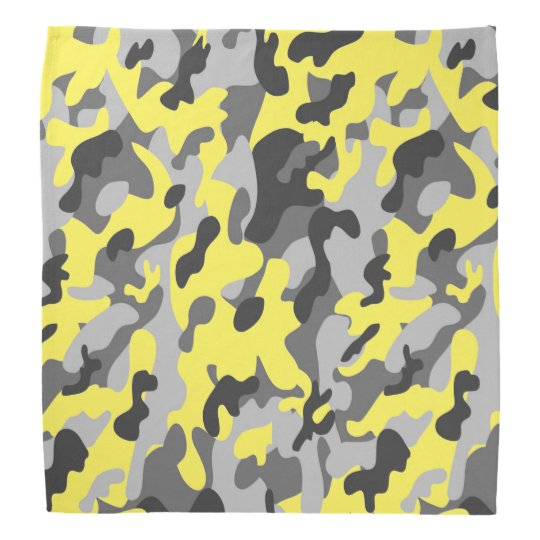 Trendy Black, Grey & Yellow Camo Print Sports Bandanas