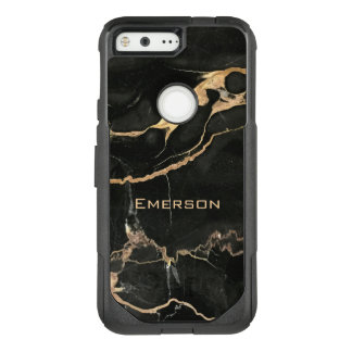 Trendy Black Marble and Name OtterBox Commuter Google Pixel Case