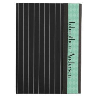 Trendy Black Pinstripe Teal Argyle Cover For iPad Air