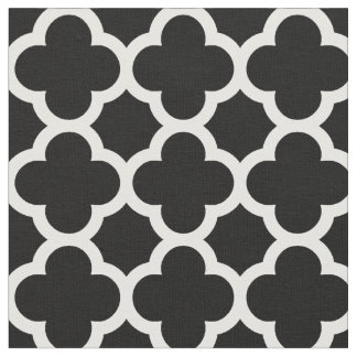 Trendy Black Retro Chic Quatrefoil Trellis Pattern Fabric