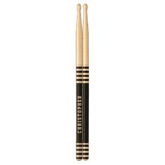 Trendy Black Stripes Custom Name A01 Drum Sticks