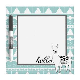 Trendy Black & White Aztec Llama Hello Dry Erase Board