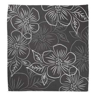 Trendy Black White Big Bold Floral Pattern Do-rag