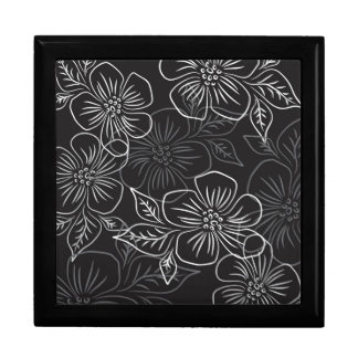 Trendy Black White Big Bold Floral Pattern Trinket Boxes