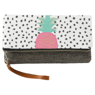 Trendy Black White Dots Pink Tropical Pineapple Clutch