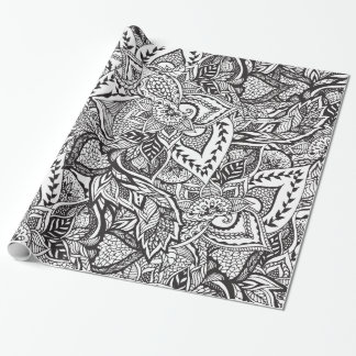 Trendy black white floral hand drawn pattern wrapping paper