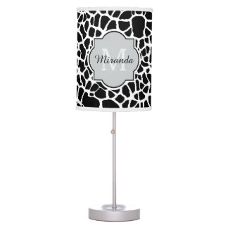 Trendy Black White Giraffe Print Monogrammed Name Desk Lamps
