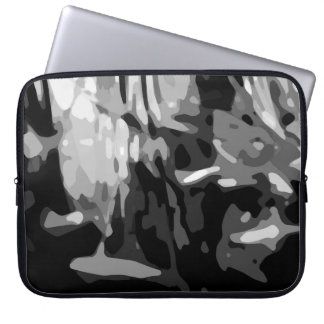 Trendy Black White Gray Abstract Pattern Computer Sleeve