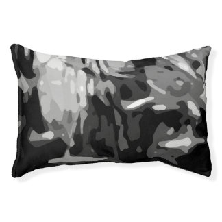 Trendy Black White Gray Abstract Pattern Pet Bed