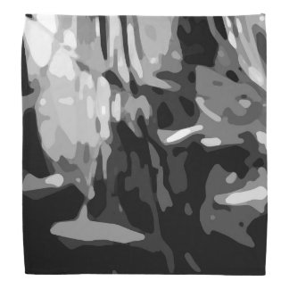 Trendy Black White Gray Camo Abstract Pattern Bandana