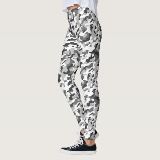 Trendy Black, White & Grey Camo Print Sports Leggings