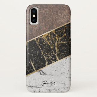 Trendy Black & White Marble Stylish Copper iPhone X Case