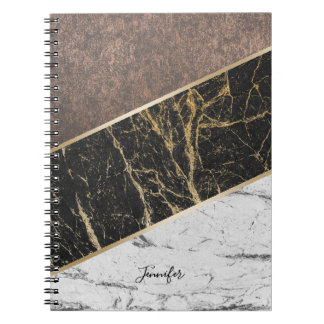 Trendy Black & White Marble Stylish Copper Texture Notebook