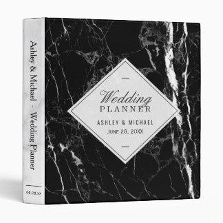 Trendy Black White Marble Texture Wedding Planner 3 Ring Binder