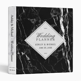 Trendy Black White Marble Texture Wedding Planner Vinyl Binders