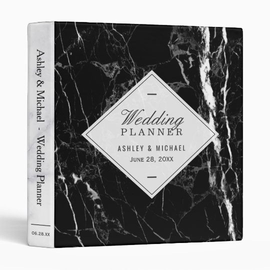Trendy Black White Marble Texture Wedding Planner Vinyl Binders