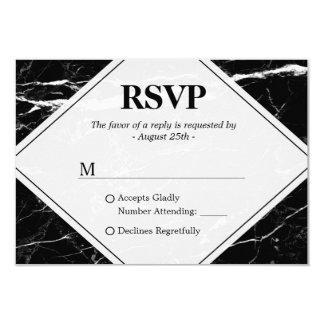 "Trendy Black White Marble Wedding RSVP 3.5"" X 5"" Invitation Card"