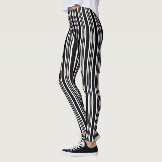 Trendy Black & White Stripe Leggings