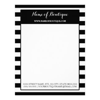 Trendy Black White Stripes Hair and Beauty Salon Personalized Letterhead
