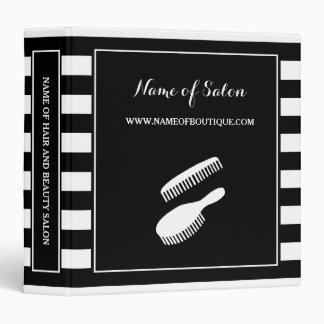 Trendy Black White Stripes Hair and Beauty Salon Vinyl Binder