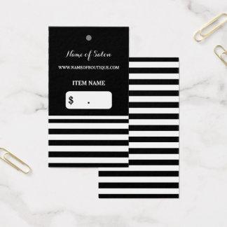 Trendy Black White Stripes Hair Salon Hang Tag