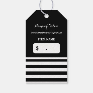 Trendy Black White Stripes Hair Salon Price Tags Pack Of Gift Tags