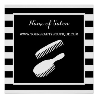 Trendy Black White Stripes Hair Salon Sign