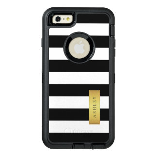 Trendy Black White Stripes Pattern Gold Label Name OtterBox Defender iPhone Case