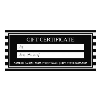 Trendy Black White Stripes Salon Gift Certificate
