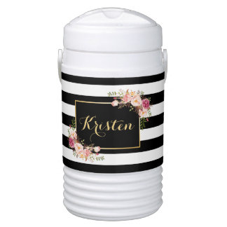 Trendy Black White Stripes Vintage Floral Decor Cooler