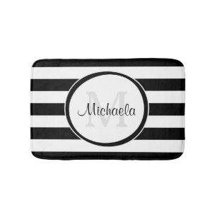 Trendy Black White Stripes With Monogram and Name Bath Mat