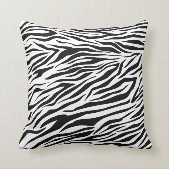 Trendy Black White Zebra Decorative Throw Pillow
