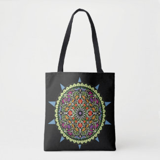 Trendy Black with Colorful Design Tote Bag