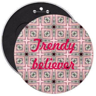 trendy bleliever cross pattern 6 inch round button