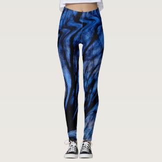 Trendy Blue and Black Abstract Swirl Design Leggings
