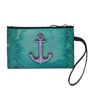 Trendy Blue and teal watercolor Heart Anchor Coin Purse