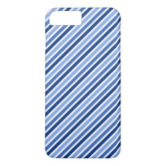 Trendy Blue And White Diagonal Stripes iPhone 7 Plus Case