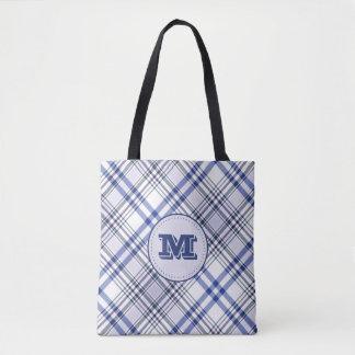 Trendy Blue and White Tartan Plaid Tote Bag