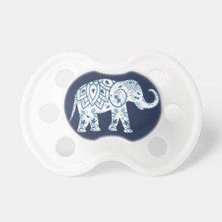 Trendy Blue Bohemian Lotus Elephant Pacifier
