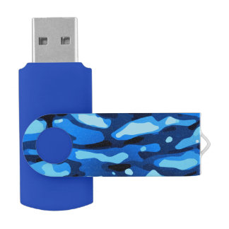 Trendy Blue Camo Abstract Pattern USB Flash Drive