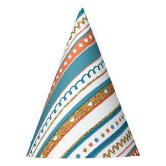 Trendy Blue, Coral & Faux Gold Glitter Stripes Party Hat