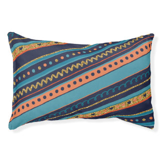 Trendy Blue, Coral & Faux Gold Glitter Stripes Pet Bed
